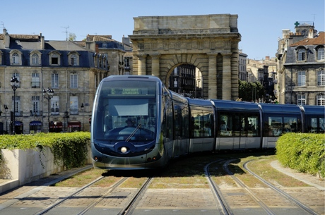 Tram in Bordeaux historic center