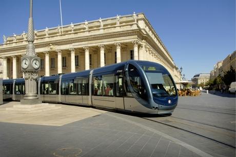 Tram in city center