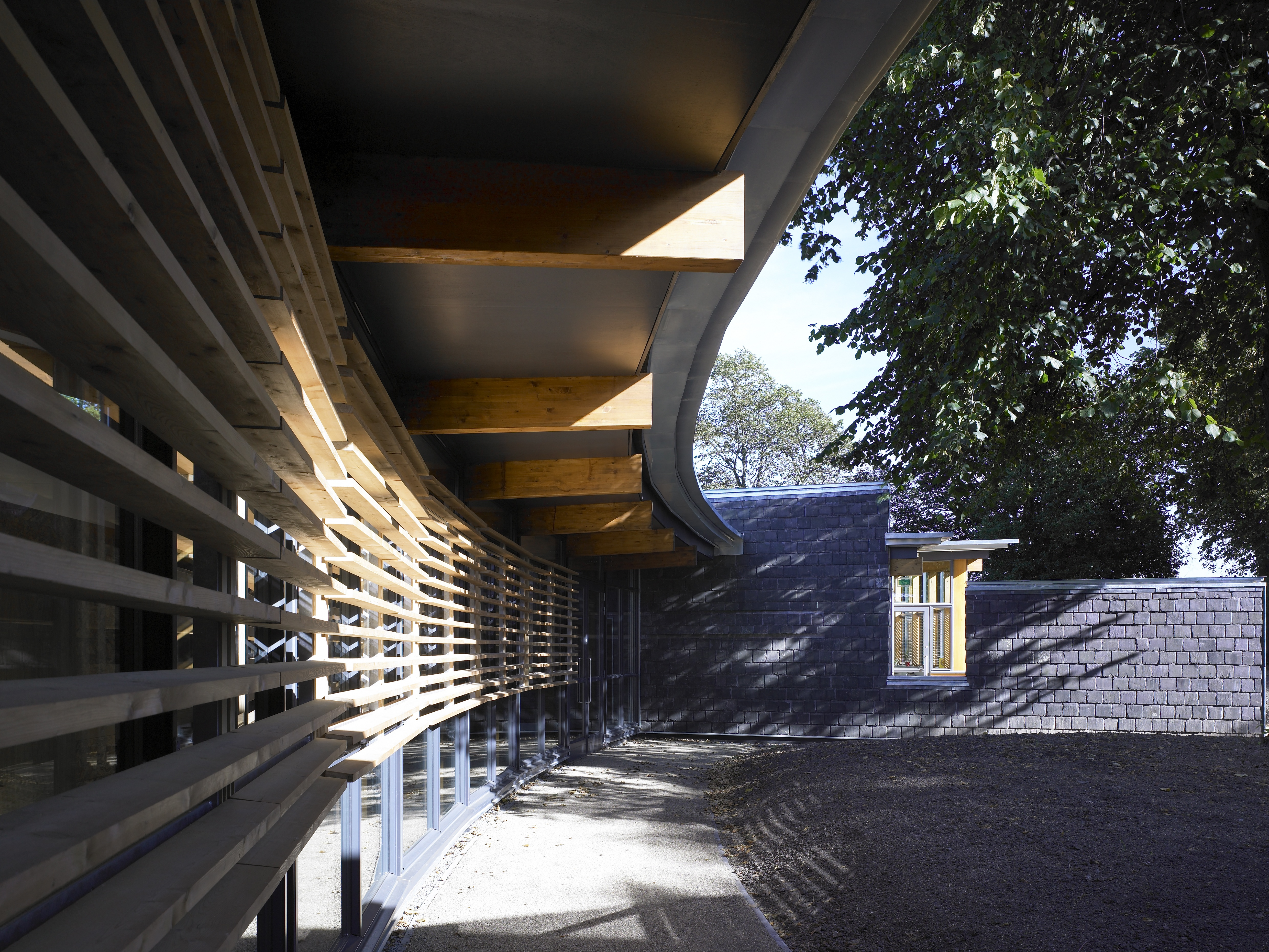 Curved walls on the exterior of the school