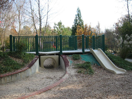 Play structure bridge and slide