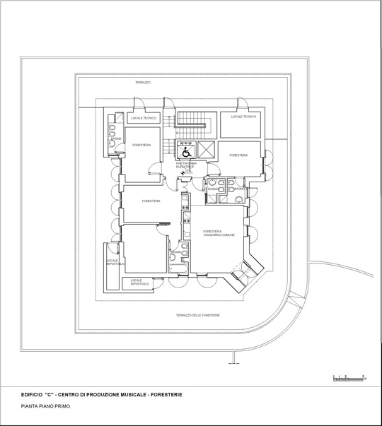Second floor plan, center for music production