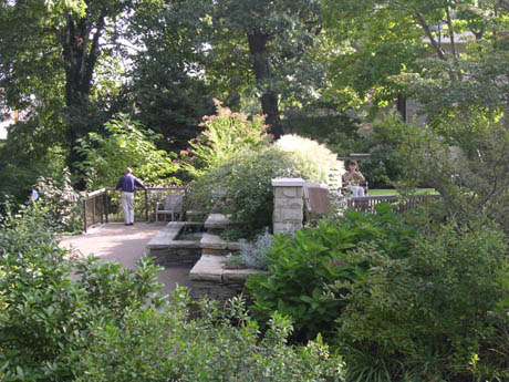 Two people experiencing the separate gardens