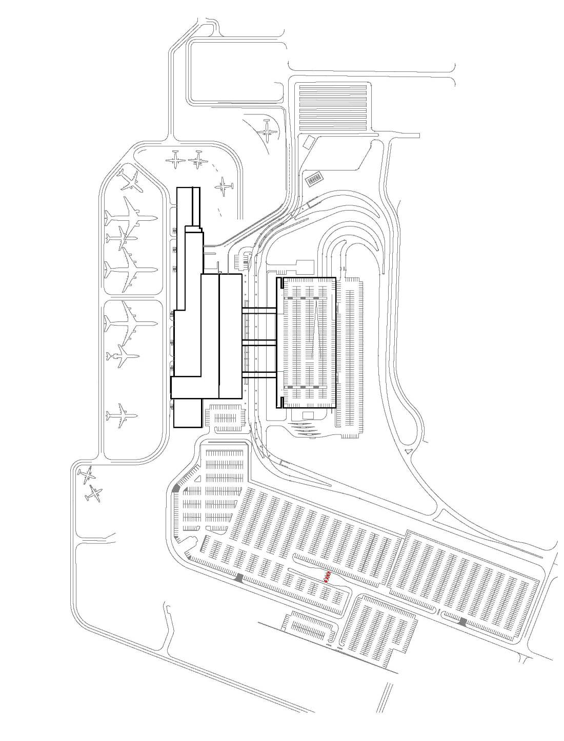 Simple plan view of airport with planes on the left and parking on the right and below