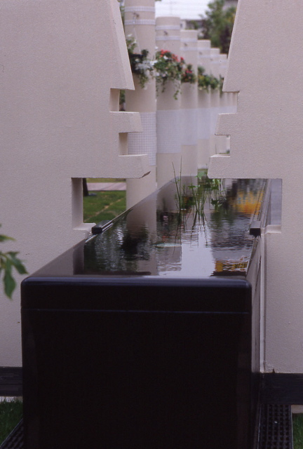 sleek black water feature with small plants