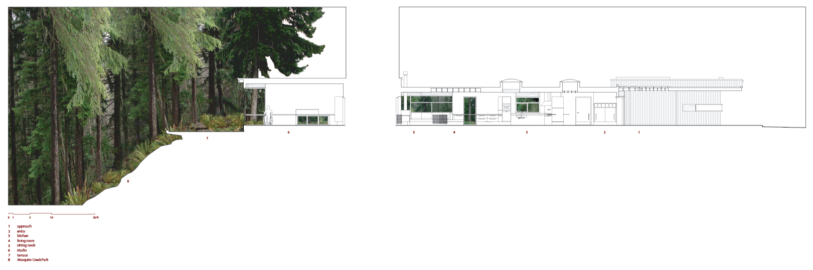 House elevation with rendering of the forest on as the propertly slopes down to the left