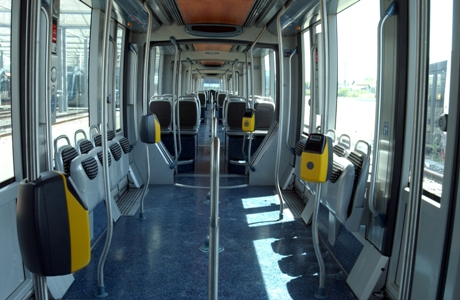 Tram interior without any passengers