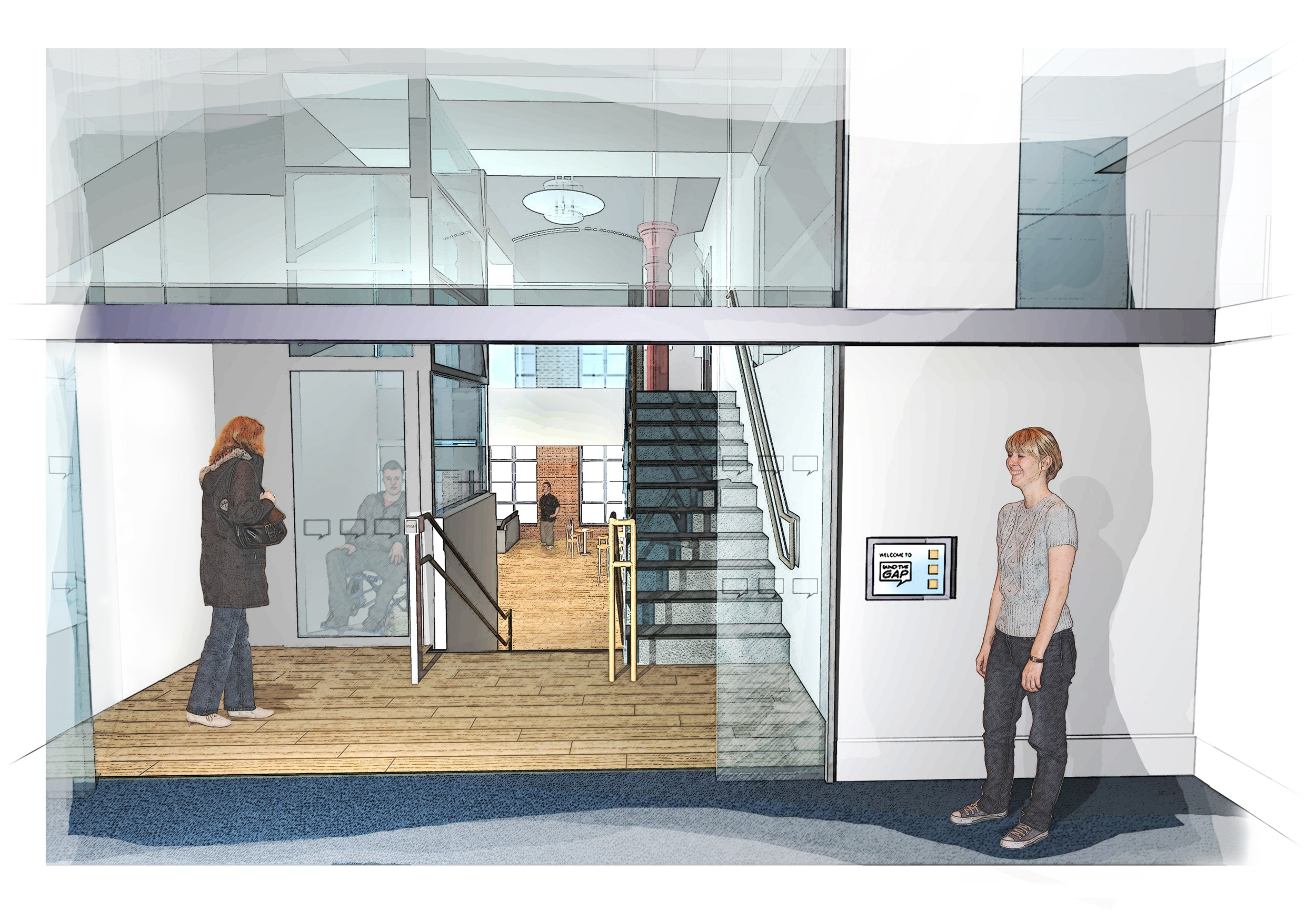 People of various physical abilities using the elevator and stairs