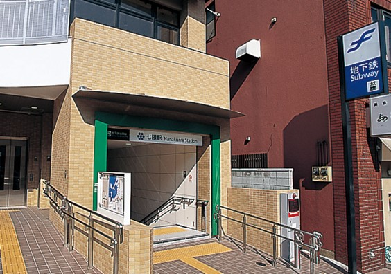 Station entrance. Stairs framed by bright green and an elevator close by to the left