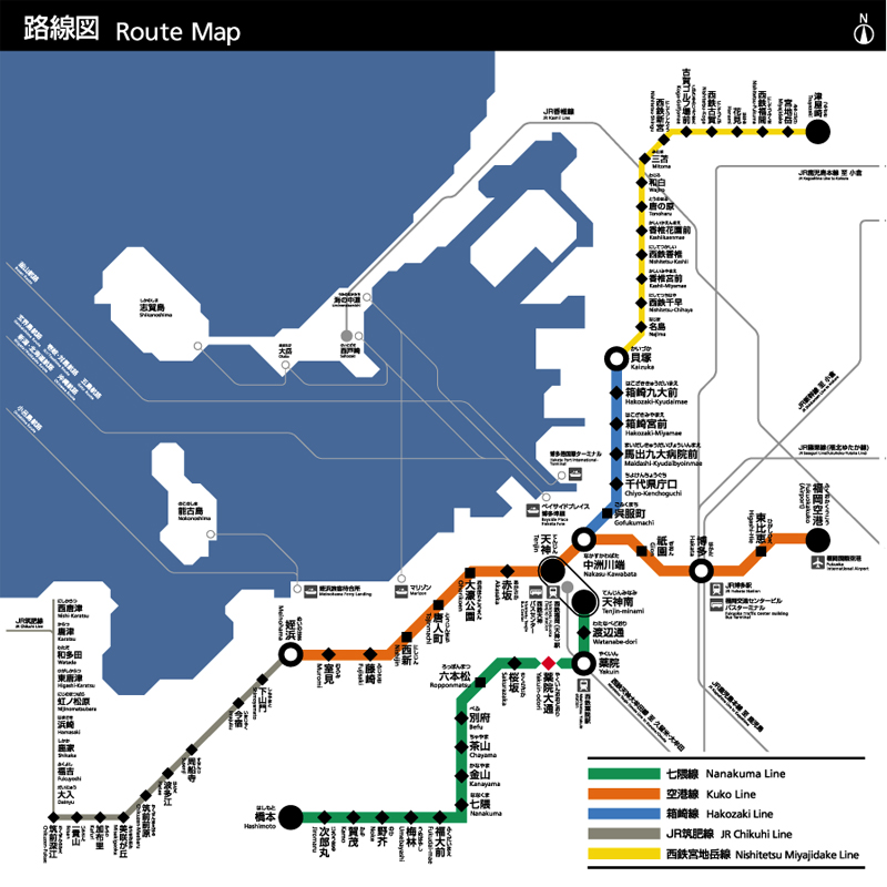 Route map of the subway and train lines against the Fukuoka shoreline