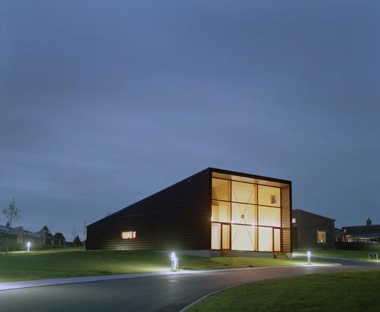 Community hall at night