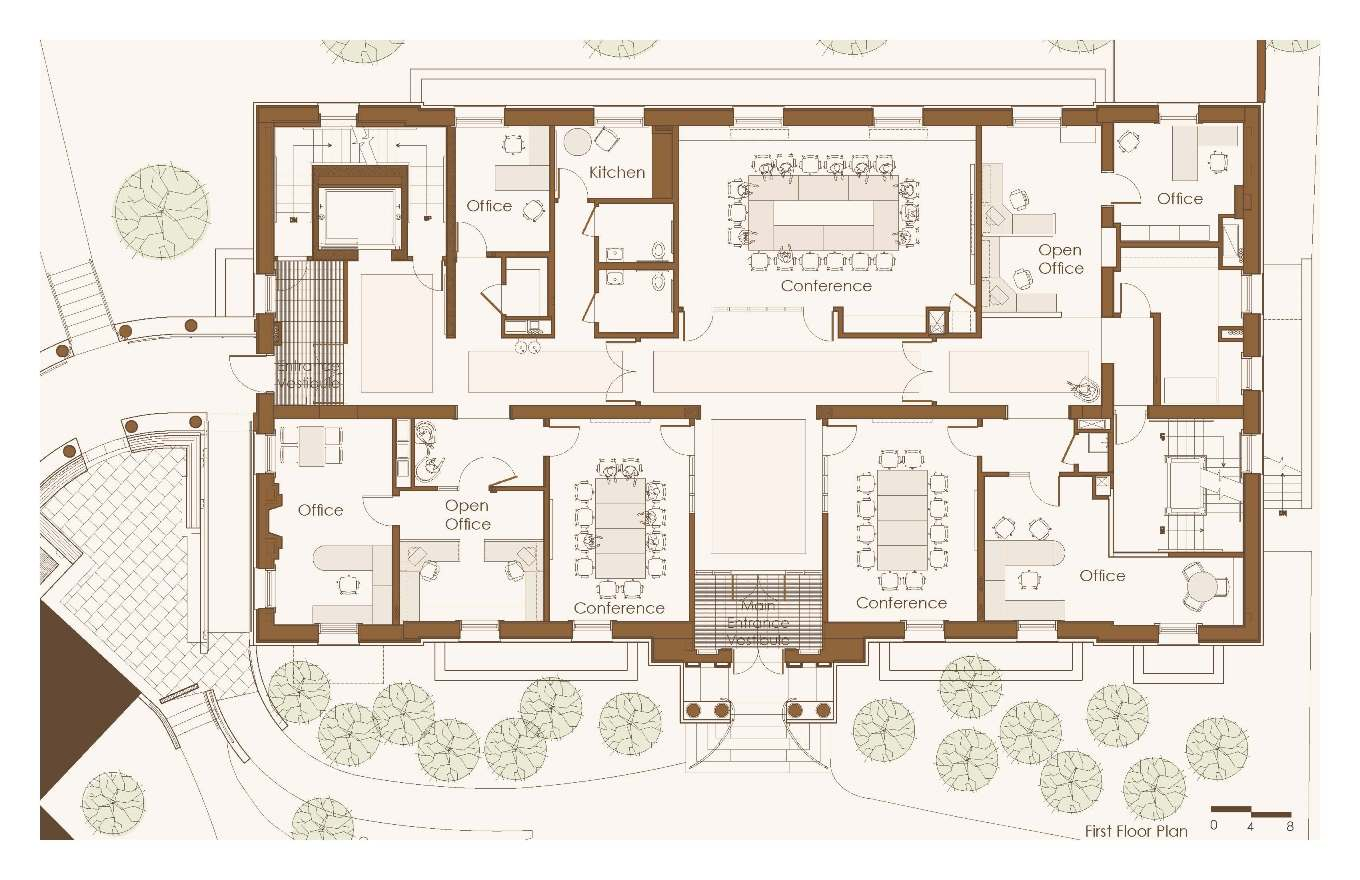 First floor plan showing six offices, three conference rooms and a kitchen