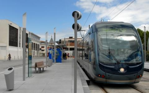 Tram at stop in Bordeaux