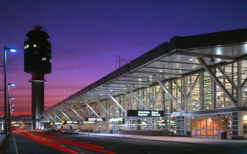 Exterior of new Vancouver terminal at dawn