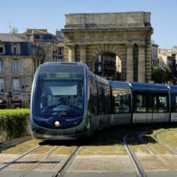 Tram in Bordeaux historic center