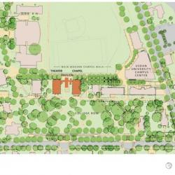 Campus map showing suburban campus with many trees and buildings concentrated on path with much green space.
