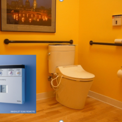 Bathroom with Toto's Washlet Toilet. Inset in photo highlights the toilet's control panel.