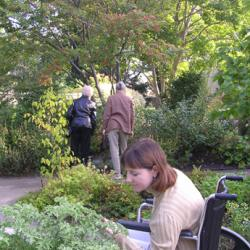 Two standing women as well as a woman in a wheelchair experiencing the garden