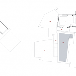 Floor plans with before on left and after on right. After shows additions on left and right as well as significant outdoor changes.