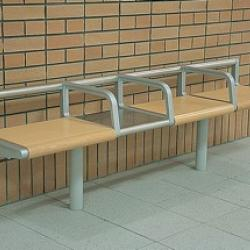 bench that is approximately 8 feet long and has arm rests in the middle but not at the ends.