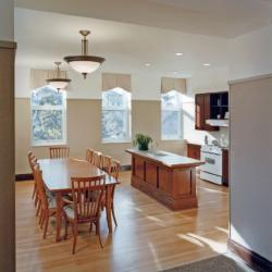 Kitchen with island and dining table