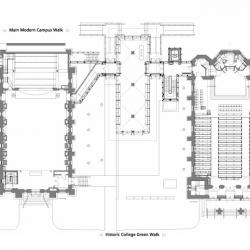 Floor plan show two large masonry buildings connected by a smaller building, also depicts theater in right building.