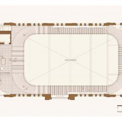 Plan showing balcony, track lounge and large area open to floor below