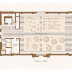 Plan of second floor showing large multipurpose room that uses the majority of the space.
