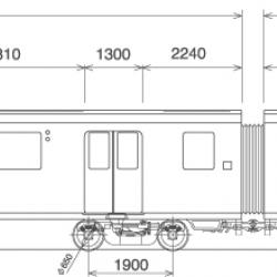 Dimensioned elevation of four car train with figures of differing physical abilities for scale.
